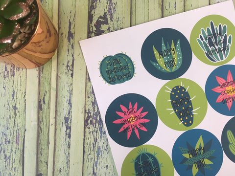Luxury Large Cactus Succulent Floral - Happy Post Stickers - Happy Mail - DD578