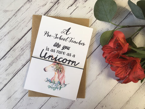 A6 postcard print - A Pre-School Teacher like you is as rare as a Unicorn DD700
