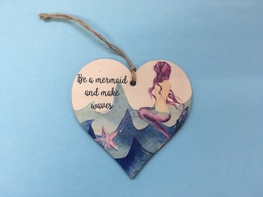 Wooden Hanging Heart - Mermaid DD239