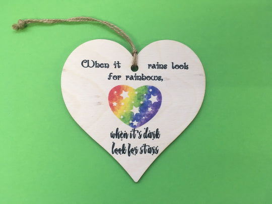 Wooden Hanging Heart - Rainbows DD242