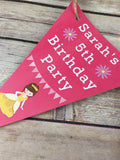 Personalised Princess Birthday Party Pack - Milestone Card, Invitations, bunting, badges,stickers & thank you cards