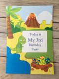 Personalised Dinosaur Birthday Party Pack - Milestone Card, Invitations, bunting, badges,stickers & thank you cards