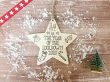 Wooden Colour In Doodle Hanging Star or magnet - The Year of the Lockdown 2020 DD1980