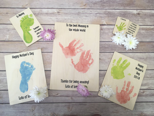 Printed Wooden Plaques  - Printed with Your Own Drawing or Hand & Footprints