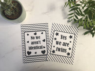 Twin /Multiples Alternative Baby Journey Cards ® Monochrome DD016