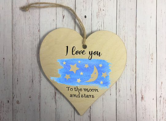 Wooden Hanging Heart - I Love You To The Moon And Stars DD310