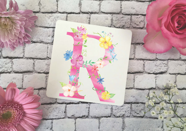Personalised Coaster - Floral Initial - DD351