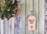 Wooden Keyring - Cactus Succulent Green Geometric Pink Flowers - DD572