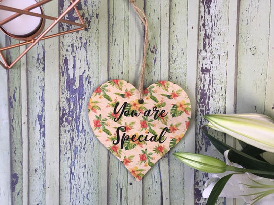Wooden Hanging Heart Tropical - You Are Special DD392