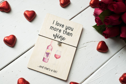 Printed Wooden Wish Bracelet - I Love You More Than Wine - DD262