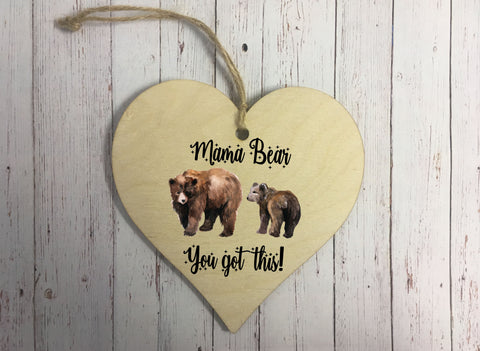 Wooden Hanging Heart - Mama Bear DD324