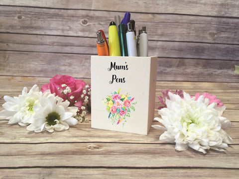 Personalised Wooden Pen Pot
