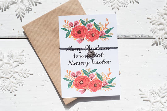 Christmas Floral Nursery Teacher A6 Postcard DD140