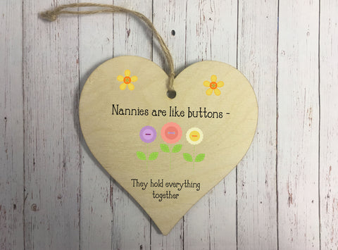 Wooden Hanging Heart - Nannies Are Like Buttons DD326
