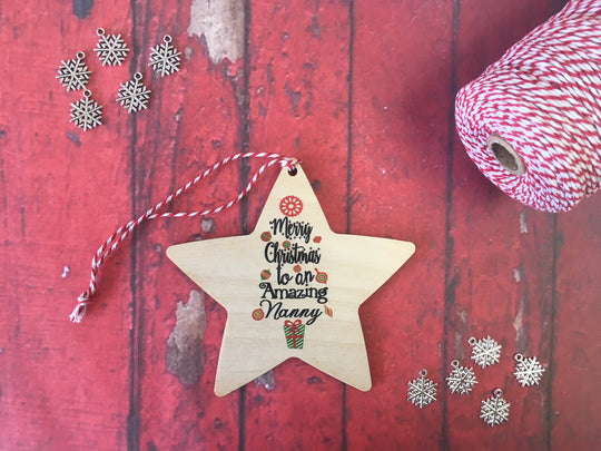 Hanging Star - Merry Christmas to an Amazing Nanny DD236