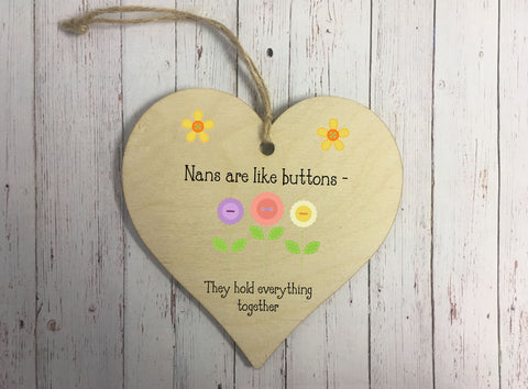 Wooden Hanging Heart - Nans Are Like Buttons DD327