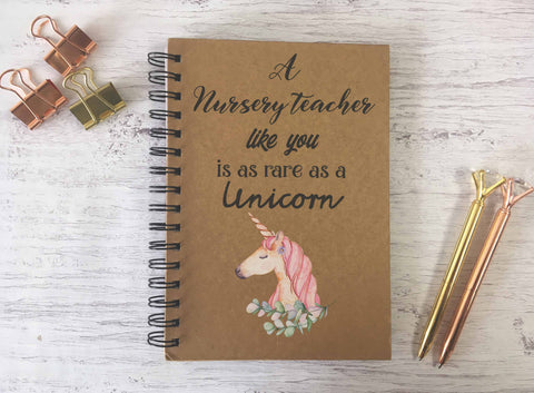 Kraft Lined Notepad -  A Nursery Teacher Like you is as rare as a Unicorn  - DD678