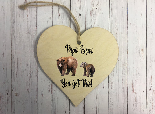 Wooden Hanging Heart - Papa Bear DD328