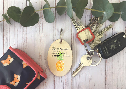 Wooden Keyring - Pineapple DD227