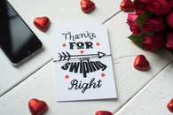 A6 Postcard Print Thanks For Swiping Right - Valentines Day - DD251