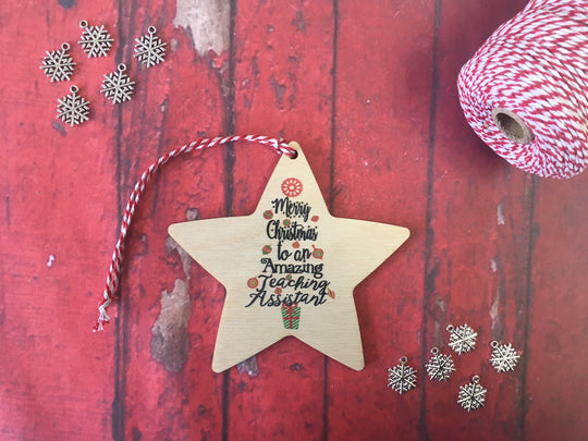 Wooden Hanging Star - Merry Christmas to an Amazing Teaching Assistant DD213