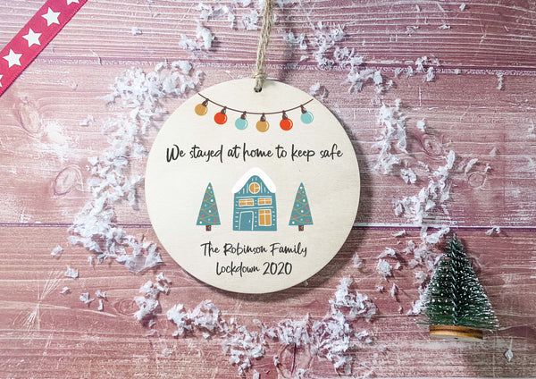 Wooden Circle Decoration - Lockdown 2020 Teal House The Year we stayed at home to stay safe DD2134
