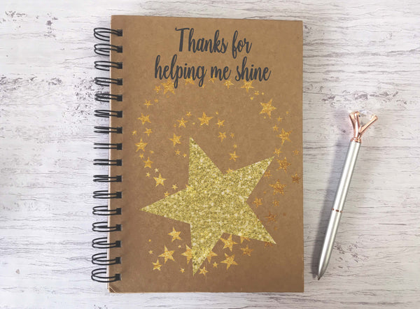 Kraft Lined Notepad -  Thanks for Helping Me Shine  - DD689