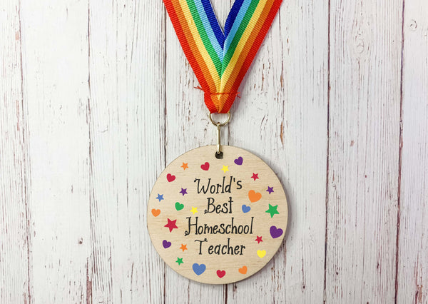 World's Best Homeschool Teacher printed wooden medal DD2234