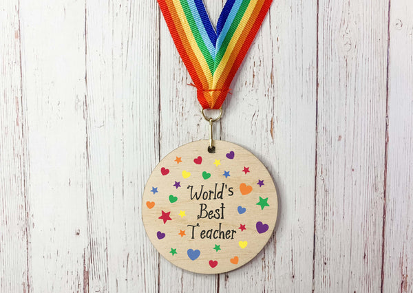 World's Best Teacher printed wooden medal DD2294