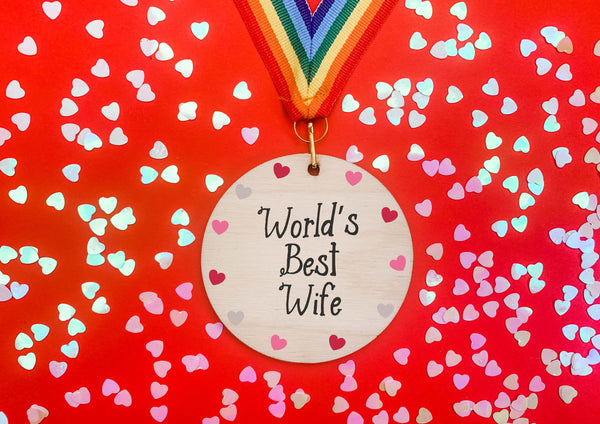 World's Best Wife printed wooden medal DD2262