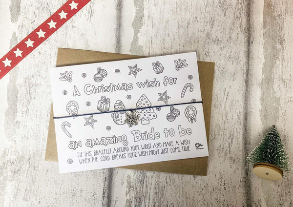 Wish bracelet - Xmas Doodle Wish for an amazing Bride to Be DD1755