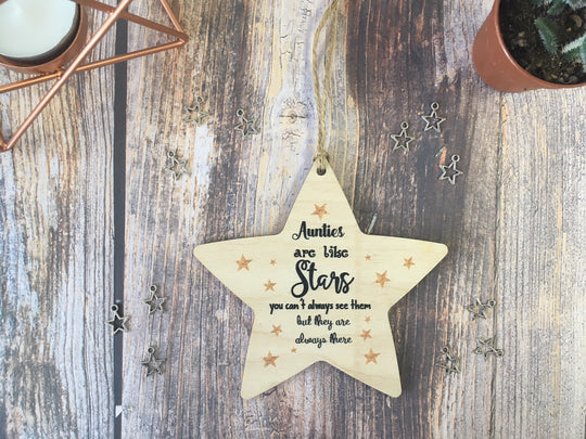 Wooden Hanging Star - Aunties Are Like Stars DD329