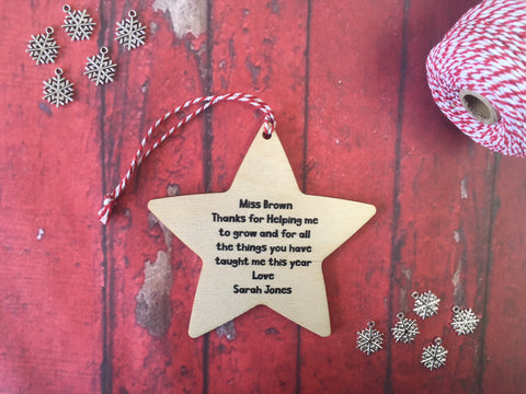 Wooden Hanging Star - Merry Christmas to an Amazing Nursery Teacher DD232