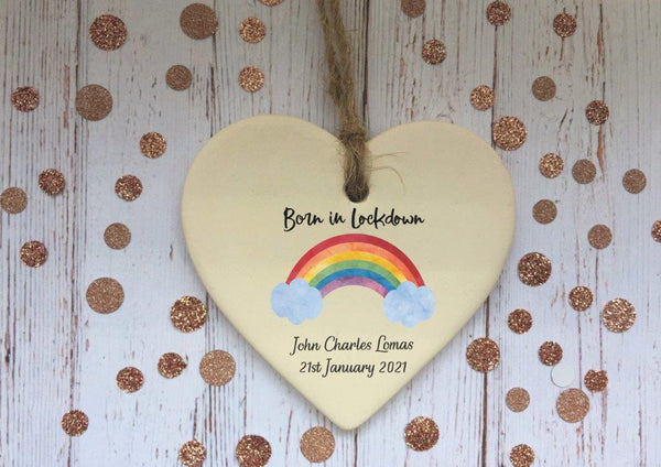 Ceramic Heart Decoration - Born in Lockdown rainbow plaque DD2308