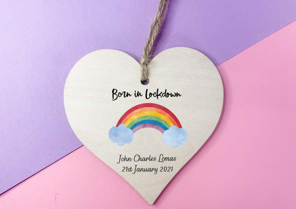 Wooden Heart Decoration - Born in Lockdown rainbow plaque DD2311