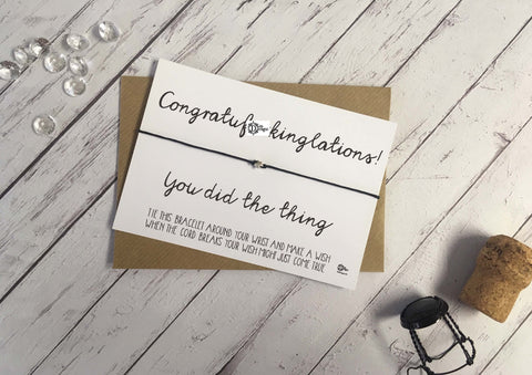 Sweary Wish Bracelet congratuf*ckinglations you did the thing /Choice of card, wood or foil print DD1459