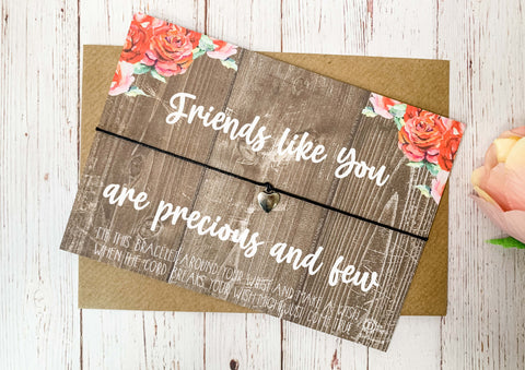 Floral wood style Wish bracelet - Friends like you are precious and few DD2151
