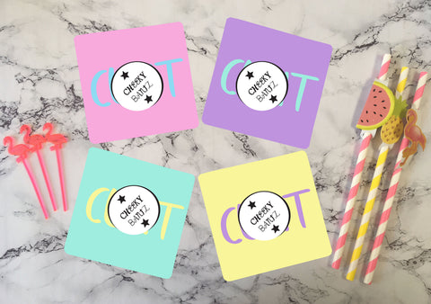 SWEARY C*nt Novelty Coaster / Profanity Obscene Offensive Swearing Rude Cheeky Adult Humour Present Gift / Neon pastel CB003