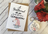 A Girlfriend Like You is as rare as a Unicorn Wish Bracelet Charm Bracelet Birthday Sibling Gift Present Badge Magnet Keyring Mirror DD725