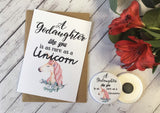 A Godaughter Like You is as rare as a Unicorn Wish Bracelet Charm Bracelet Birthday Sibling Gift Present Badge Magnet Keyring Mirror DD728