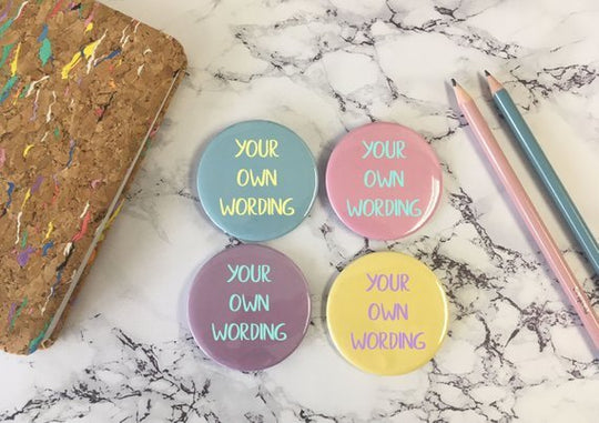 Custom Bespoke Personalised Badge Magnet Keyring Mirror / Funny Rude Cute / Hen Stag Do Birthday Party Gift Present / Wedding Favour Pastel