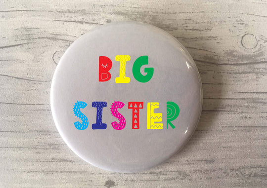 Big Brother / Big Sister / Big Bro / Big Sis / Bright Fun Scandi / Badge / Magnet / Keyring / Pregnancy Announcement / Birth Gift Sibling