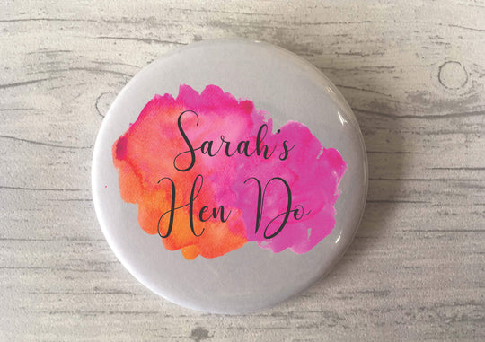 Hen Do Hen Party / Custom Badge Magnet Keyring Mirror / Favours Favors / Gift Present Party Bags / Bespoke Personalised / Watercolour Choice