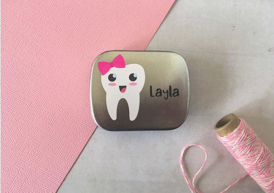 Tooth Fairy Tin / Personalised Custom Wording / Tooth Pouch Pocket Pillow Box / Pot Keepsake First Tooth Milestone Pink Bow Tooth / DD979