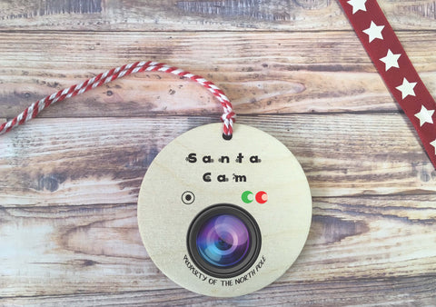 Santa Cam Wooden Bauble Hanging Decoration Father Christmas Xmas Surveillance Camera Good Naughty or Nice List Elf on Shelf North Pole DD891