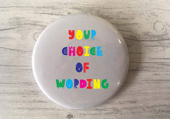Custom Bespoke Personalised Badge Magnet Keyring Mirror Cute Retro Hen Stag Do Birthday Party Gift Present Wedding Favour Bright Scandi Fun