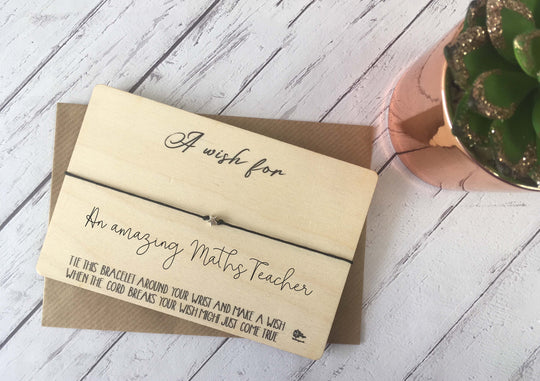 Wooden Wish Bracelet - A Wish for an Amazing Maths Teacher DD868