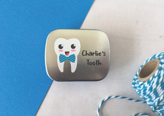 Tooth Fairy Tin / Personalised Custom Wording / Tooth Pouch Pocket Pillow Box / Pot Keepsake First Tooth Milestone Blue Bowtie Tooth / DD980