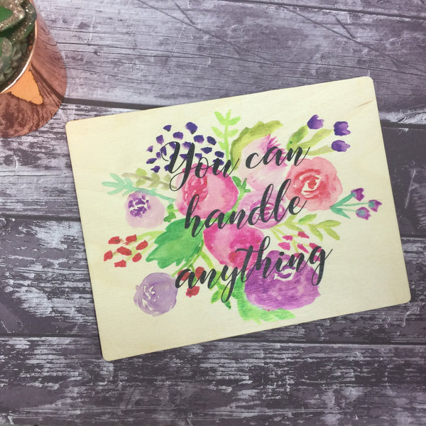 Wooden Print / Handpainted Floral Watercolour Print / Gift / Decoration / Present / A4 / A5 / A6 / Floral Your Own Choice of Wording
