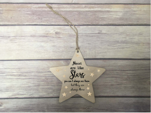 Wooden Hanging Star / Nieces Are Like Stars / Decoration / Personalised / Gift / Present / Gift For Him / Gift For Her / DD1258